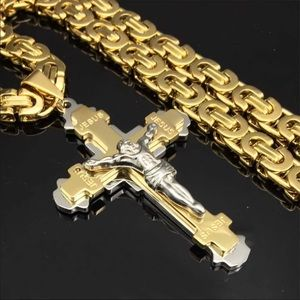 New two tone stainless steel Jesus cross necklace